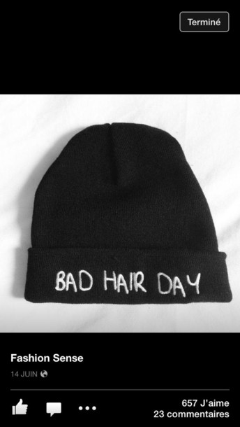 hat beanie black bad hair day