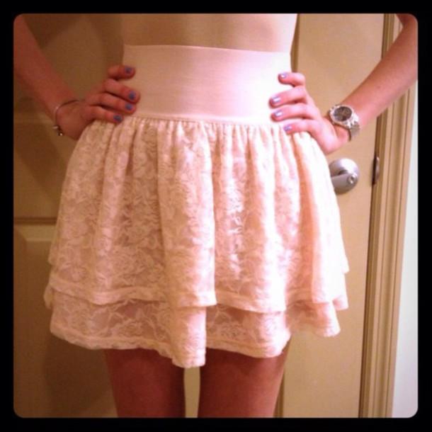 skirt light pink short skirt lace skirt h&m