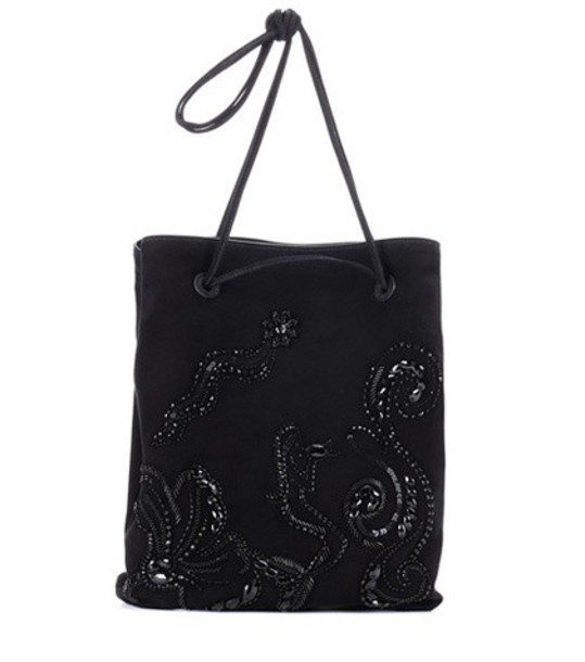 Prada embellished bag tote bag suede black