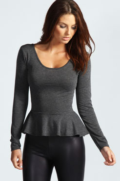 Aliya Long Sleeve Vicose Peplum Top at boohoo.com