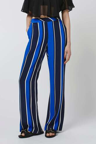 pants striped pants blue and white