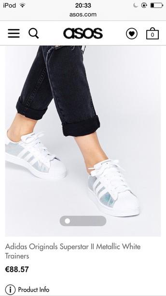 shoes adidas original superstar 2 metallic white trainers