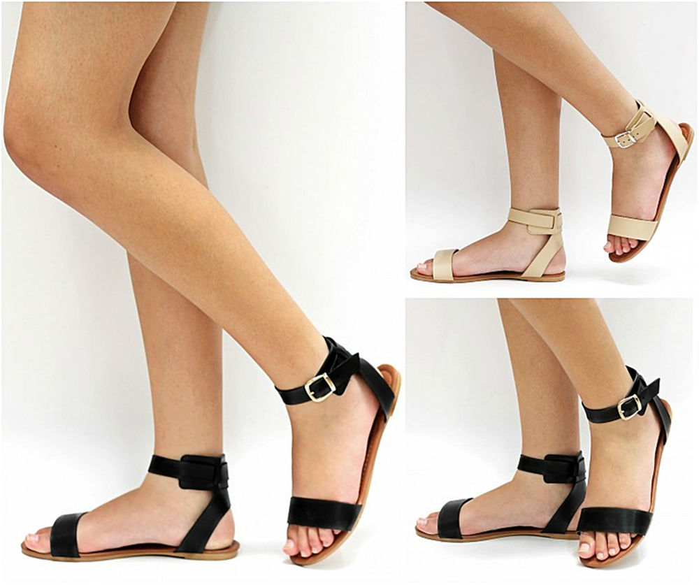 675093e46 New Womens T32 Black Beige Gladiator Strappy Flat Sandals sz 5 to 10