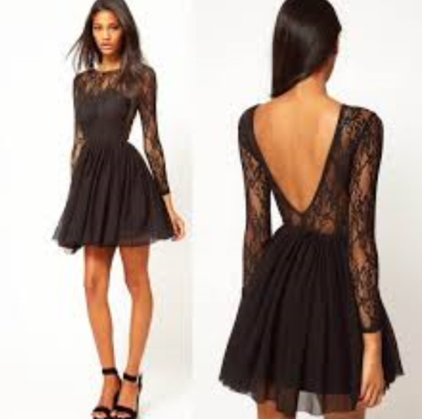 dress black lace dress pretty elegant formal dress prom dress short prom dress black lace open back long sleeve dress open back dresses dress with sleeves short dress black dress lace backless sleeves lace black\ homecoming dress