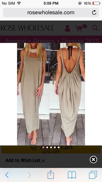 backless dress backless draped summer dress taupe maxi dress