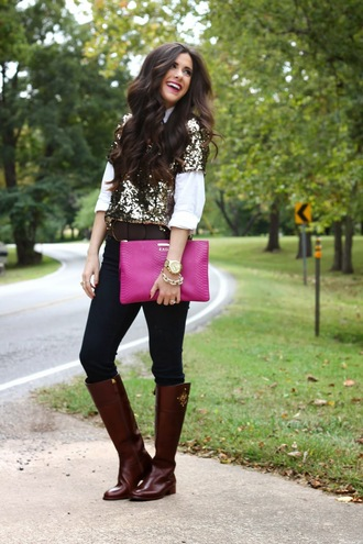 shirt sequin shirt button up blouse pink knee high boots brown leather boots statement jewelry belt clutch fall outfits 2015 fall fashion fashionista burgundy lips nyfw easy outfits bold color