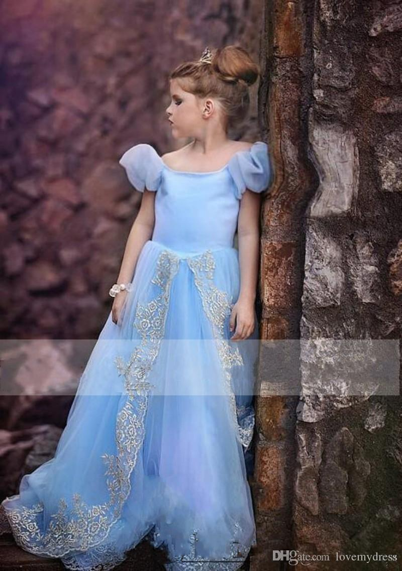 Watteau Blue Count Train Girls Dresses Appliques Juliet Sleeves Short Sleeves Lace Up Back Pageant Dresses Halloween Dresses Girls Flower Dresses Latest Dress For Girls From Lovemydress, $68.29| Dhgate.Com