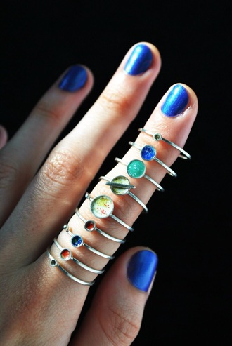 jewels ring hand nails planets set pretty wiccan pagan ring set astronomy stars space earth moon
