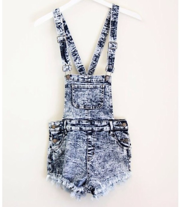 High Waist Overall Shorts - Blue