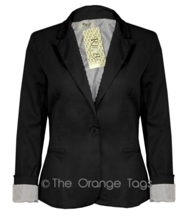 jacket ladies stripe lining smart one button blazer casual coat top black elegant evening outfits