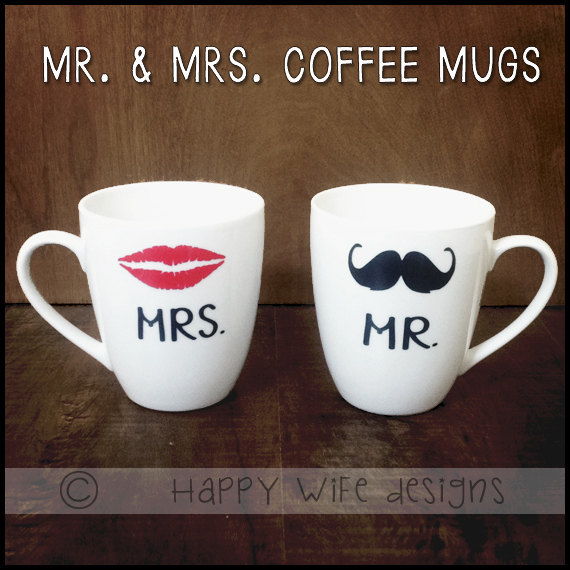 Mr. and Mrs. Coffee Mugs Set of 2 by HappyWifeDesigns on Etsy