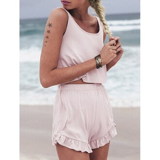 top pink pastel pastel pink crop tops crop cropped ruffle shorts short short shorts set