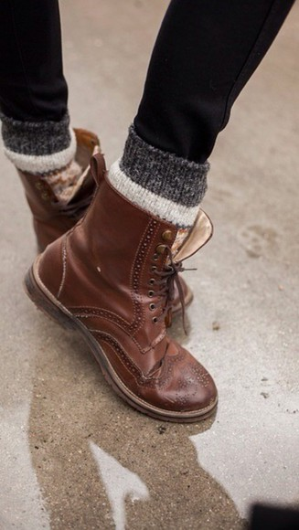 shoes oxfords brown leather boots boots, cute, tumblr, leather, brown, winter