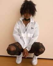 jacket,windbreaker,pullover,white,choker necklace,ripped pants,pants,converse,curly hair,natural hair,african american,style,black girls killin it,hanna lashay,cute