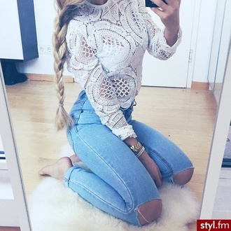 blouse style fashion shirt lace top white t-shirt jeans