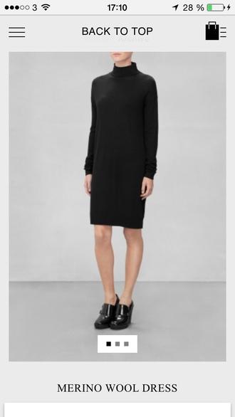 dress & other stories black dress merino wool