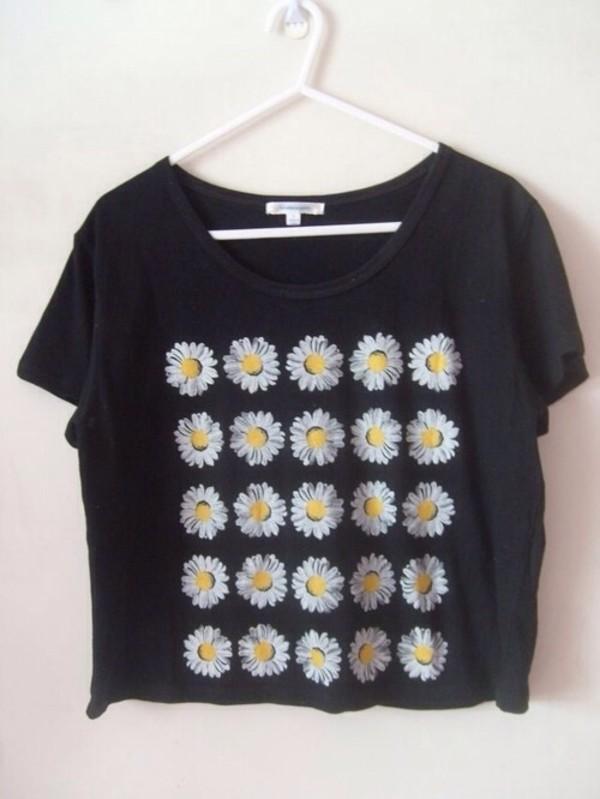shirt t-shirt floral sunflower black oversized t-shirt hipster daisy cute crop tops flowers
