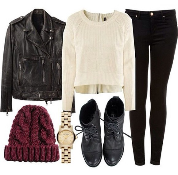 jewels cream shoes beanie jeans watch michael kors leather jacket jacket