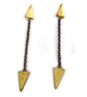 jewels,punk,punky,rock,earrings,statement earrings,dangle earrings,jewelry,80s style,new wave,wave,brass,triangles,chain