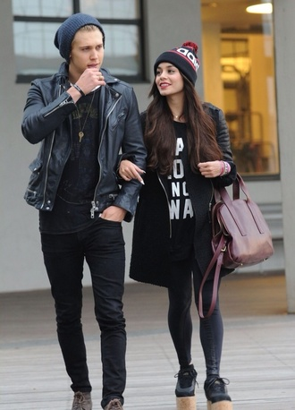 t-shirt vanessa hudgens oversized oversized jacket beanie wedges shoes hat bag coat