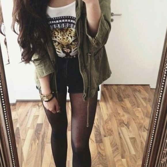 jacket pants army green shirt leopard green jacket white tee cheetah shirt sheer tights