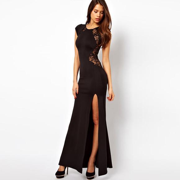 dress long dress sexy dress black