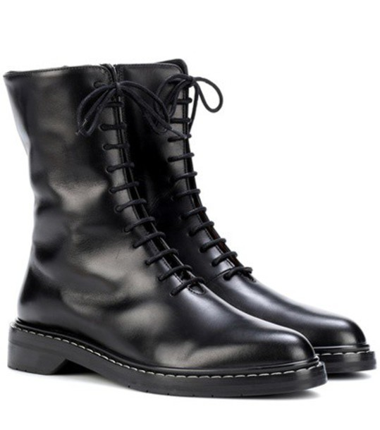 The Row leather ankle boots ankle boots leather black shoes
