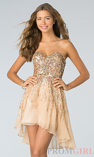 Sherri Hill Short Strapless Sequin Dresses- PromGirl