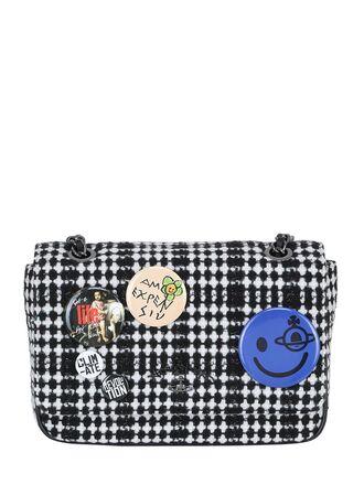 plaid bag wool white black