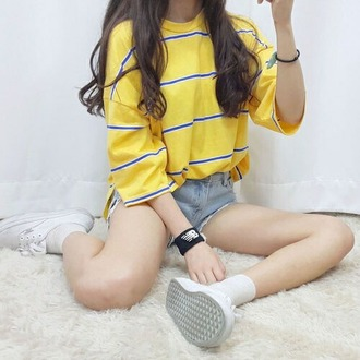 t-shirt korean fashion korean style k-pop yellow stripes blue korean drama asian fashion asian yellow top oversized t-shirt