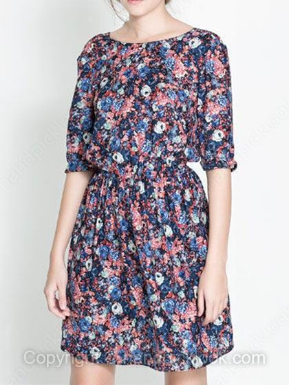 Multicolor Round Neck Half Sleeve Floral Print Dress - HandpickLook.com