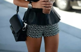 shorts black white summer flowers girly short lines dots style fashion comfy swag girl shorts
