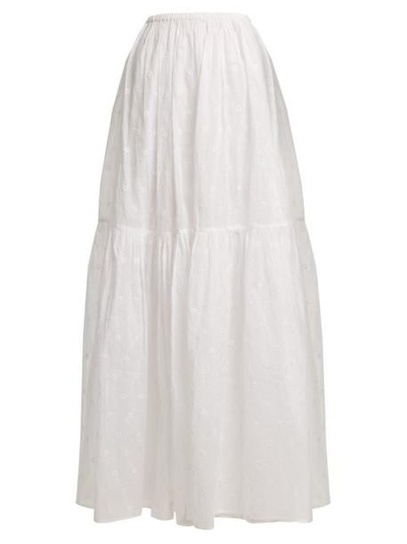Mes Demoiselles - Organdy Glor Embroidered Skirt - Womens - Ivory