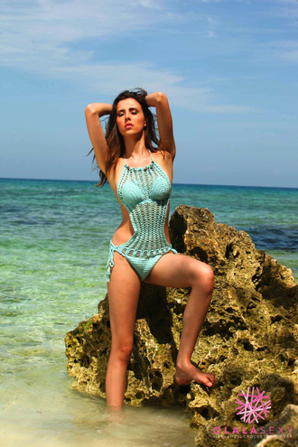 swimwear high neck crochet monokini monokini crochet swimsuit crochet swimwear blue sexy bikini sexy monokini olalasexy high quality halter neck high neck