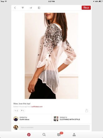 blouse jewel shoulders jewels white top