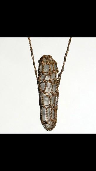 jewels boho crystal quartz grunge wiccan hippie neckalce