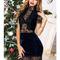 Lady's stunning velvet elegance guipure bodycon dress