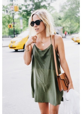 dress green dress olive green short cami slip green army green light cute strappy olive green slip dress brown satchel bag slip dress saint laurent black sunglasses layered necklace damsel in dior blogger summer boho summer dress summer outfits bag brown bag sunglasses shoulder bag spaghetti strap mini dress halter dress
