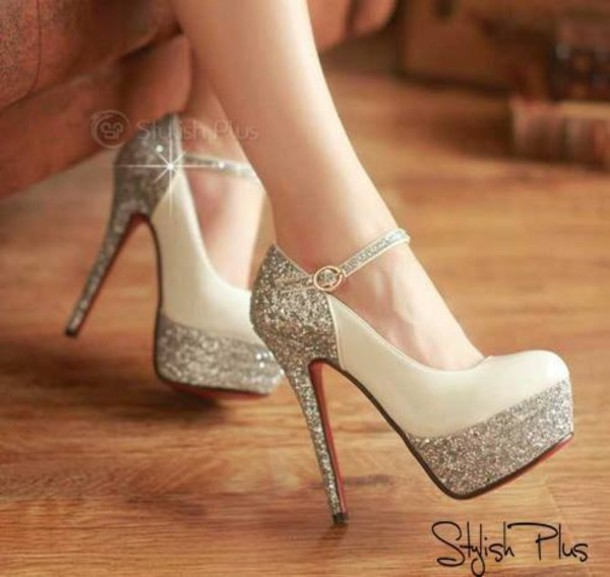 fc09c299016 shoes heels sparkly silver sparkle silver glitter glitter shoes  colorblocked sparkle high heels glitter fancy white