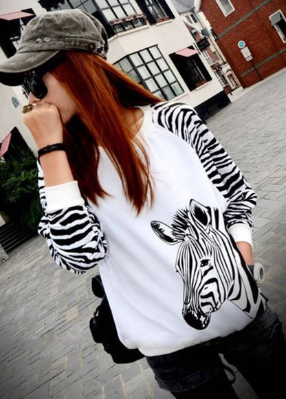 zebra animal print shirt sweater stripes black and white t-shirt sweatshirt blouse clothes top