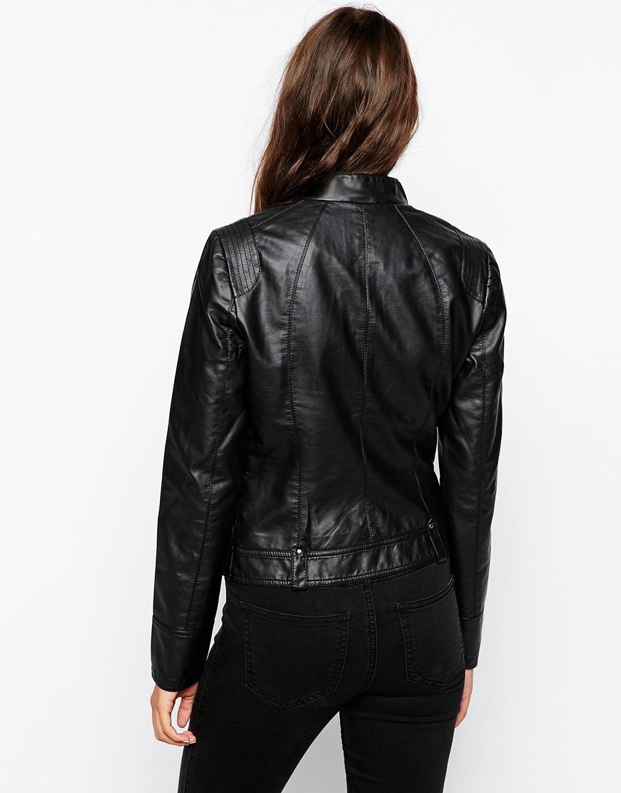 vero moda leather look biker jacket at. Black Bedroom Furniture Sets. Home Design Ideas