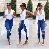 tank top,outfit,white,jeans,ripped jeans,shoes,trendy,ponytail,black sunglasses