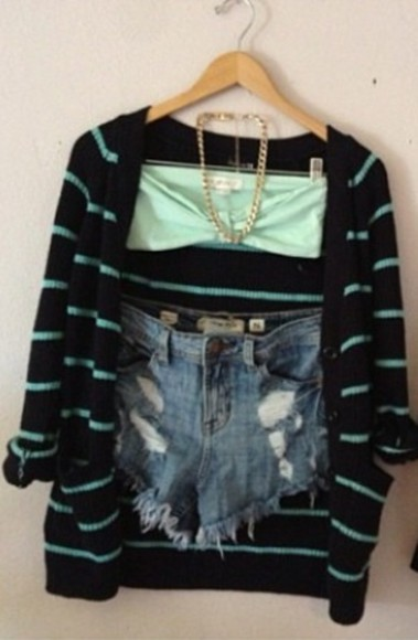 denim sweater cute shorts blue ripped destressed cut offs cut offs vintage
