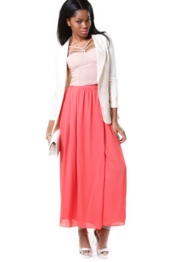 wrap front chiffon maxi skirt in coral