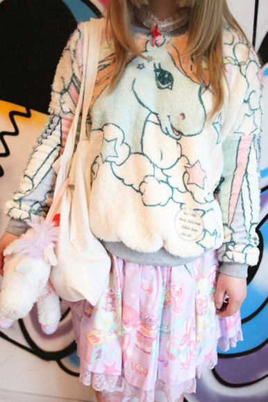 sweet cartoon skirt unicorn girly cute outfits kawaii