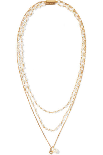 pearl necklace gold cream jewels
