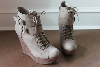 brown shoes shoes buckles wedges high heels grey shoes