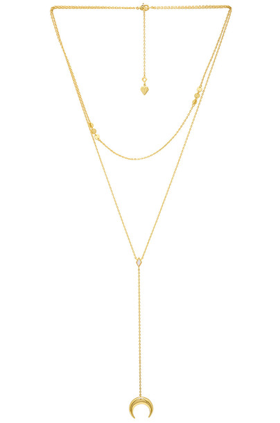 Wanderlust + Co Crescent Diamante Layered Necklace in gold / metallic