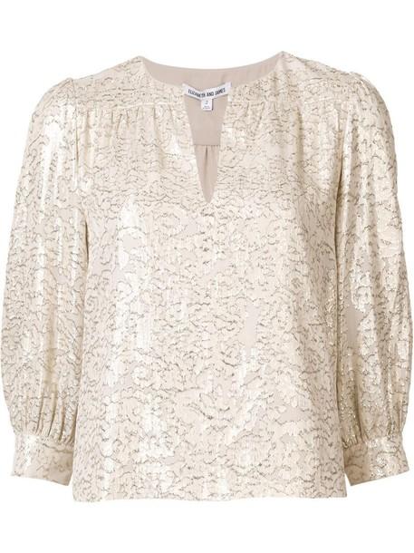 Elizabeth and James blouse metallic women print silk grey top