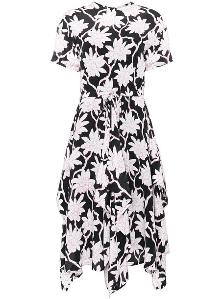 Valentino dress floral dress women spandex floral black silk